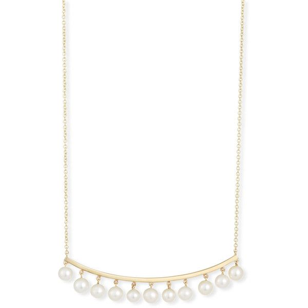 Sydney Evan Pearl Bar Necklace ($1,190) ❤ liked on Polyvore featuring jewelry, necklaces, bar necklaces, sydney evan necklace, pearl jewellery, sydney evan and pearl necklaces