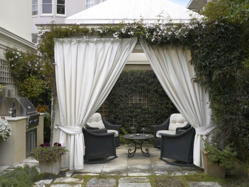 Traditional Backyard Design Ideas With Elegant White Gazebo Covered Outdoor Curtains In Giving The Great Experience
