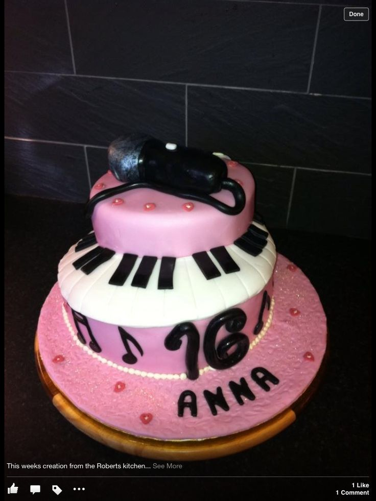 16th Birthday Cake Music Singing Singer Theme With Piano