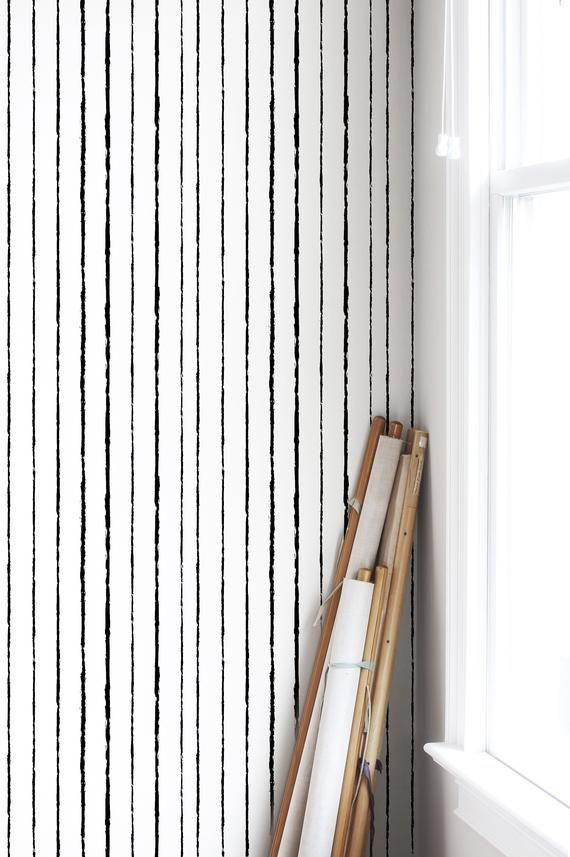 Vertical Lines Removable Wallpaper Black Brush Strokes Etsy In 2021 Removable Wallpaper Peel And Stick Wallpaper Lines Wallpaper Brush stroke removable wallpaper