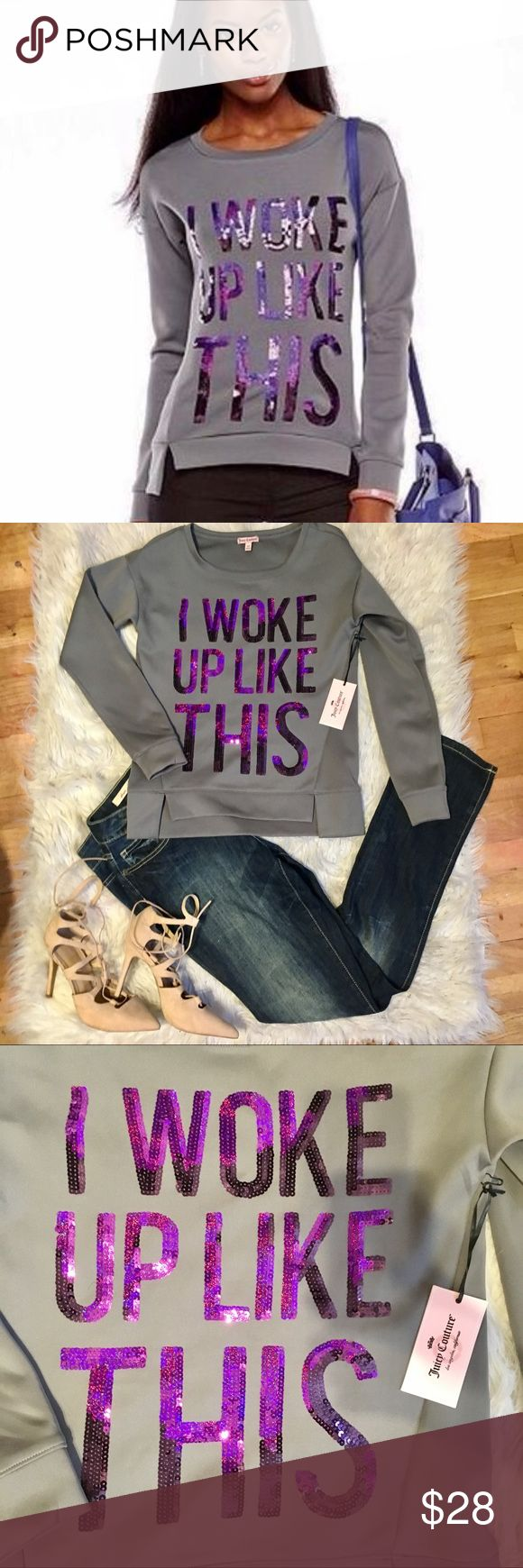 Juicy couture sequence I woke up like this top Juicy couture purple sequence I woke up like this pullover long sleeve top. 95% polyester 5% spandex. Size xs. Bundle and Ave 15% Juicy Couture Tops Crop Tops