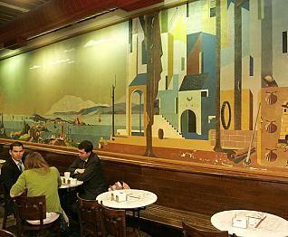URBANO LUGRIS (1908-1973) Galician painter in La Coruña, Spain. Mural in coffee-bar in La Coruña.