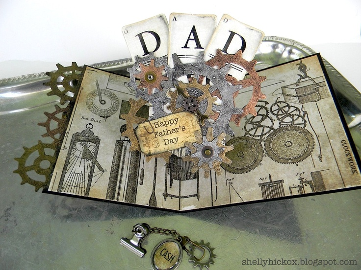 @Shelly Hickox really wows with the fabulous pop up card featuring dies by @Karen Burniston and @Tim Holtz. You can find the details on the Sizzix blog: http://sizzixblog.blogspot.com/2012/06/gearing-up-for-fathers-day.html: Die Cutting, Pop Up, Sizzix Die, Fathers Day, Father'S Day, Masculine Card
