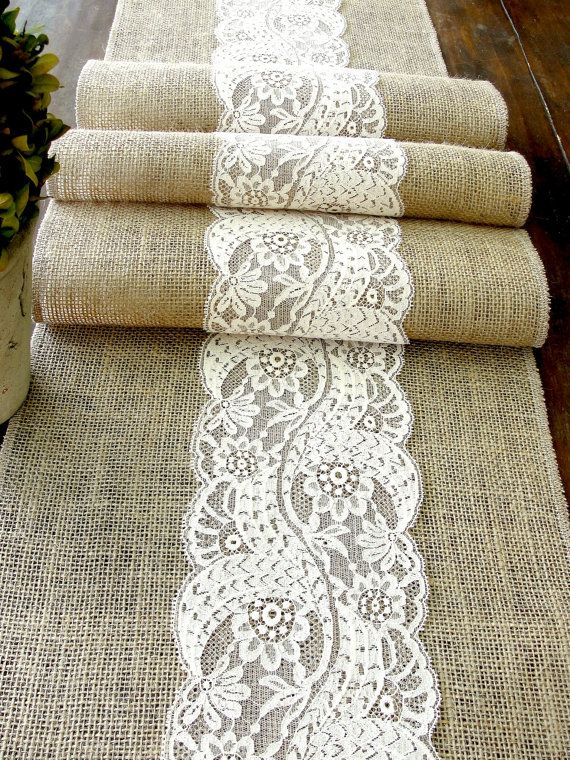 Burlap & lace table runner- great for a rustic country wedding table runner. Easy to DIY as well.