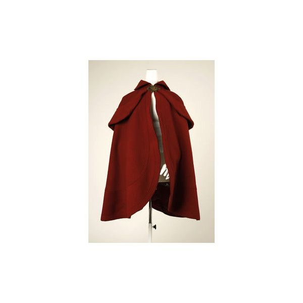1898-'99 french wool skating cape The Metropolitan Museum of Art, New... ❤ liked on Polyvore featuring outerwear, jackets, tops, red cape coat, woolen cape, wool capes, wool cape coats and cape coat