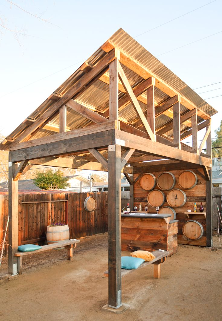 Shade Structure Made With Reclaimed Barn Trusses