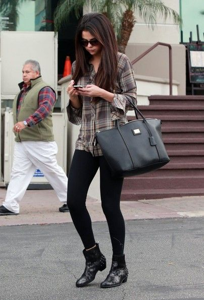 Selena Gomez - December 2012 in Los Angeles wearing designer ankle boots, #sexy black leggings and chic plaid button down - #gorgeous celebrity style