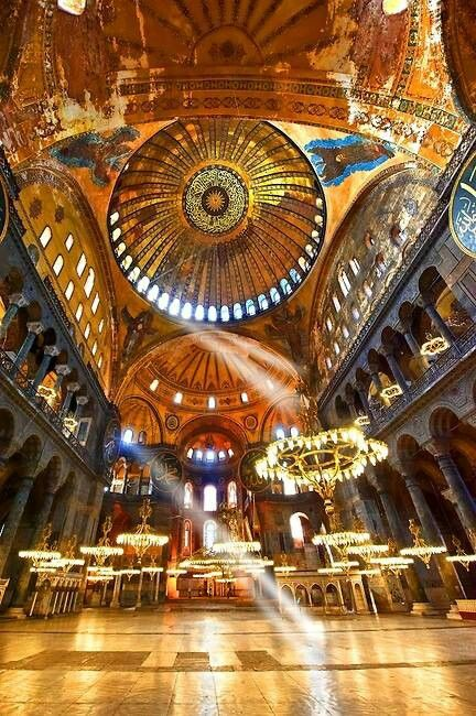Interior of the Hagia Sophia. It stays true to the art of the Byzantine Empire; gold and otherworldly.