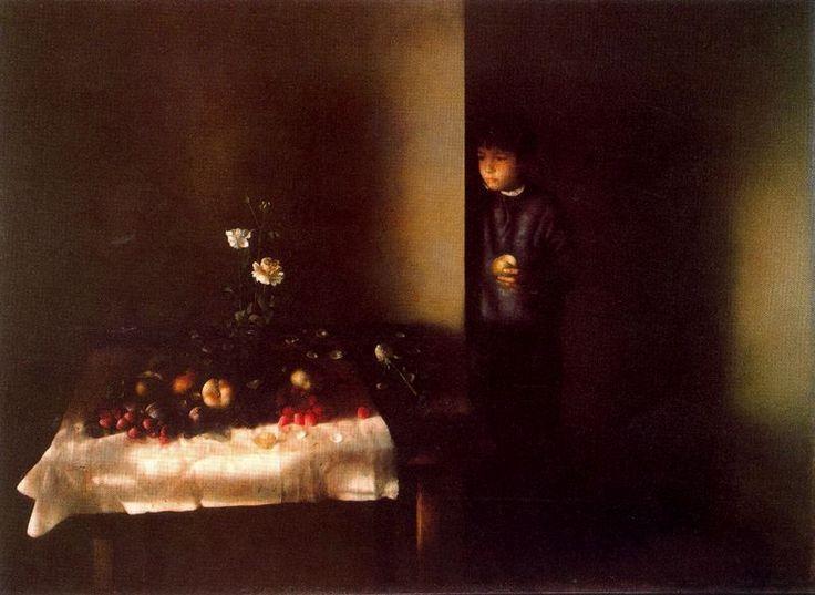Autor: Cristobál Toral Nombre: Bodegón con figura 1988-89. 144 x 195 cm.