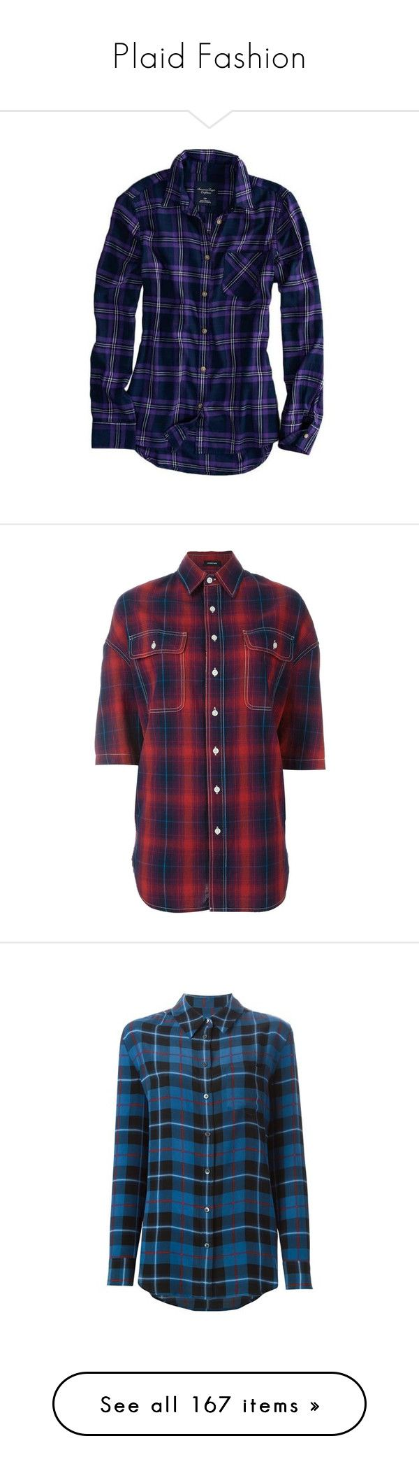 """Plaid Fashion"" by pinky-dee ❤ liked on Polyvore featuring tops, button down shirt, button up shirts, purple plaid shirt, long sleeve button down shirts, blue button up shirt, red, oversized plaid shirt, red plaid top and oversized linen shirt"