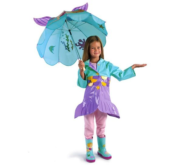 chubasquero niña en forma de sirena con paraguas y botas de agua a juego