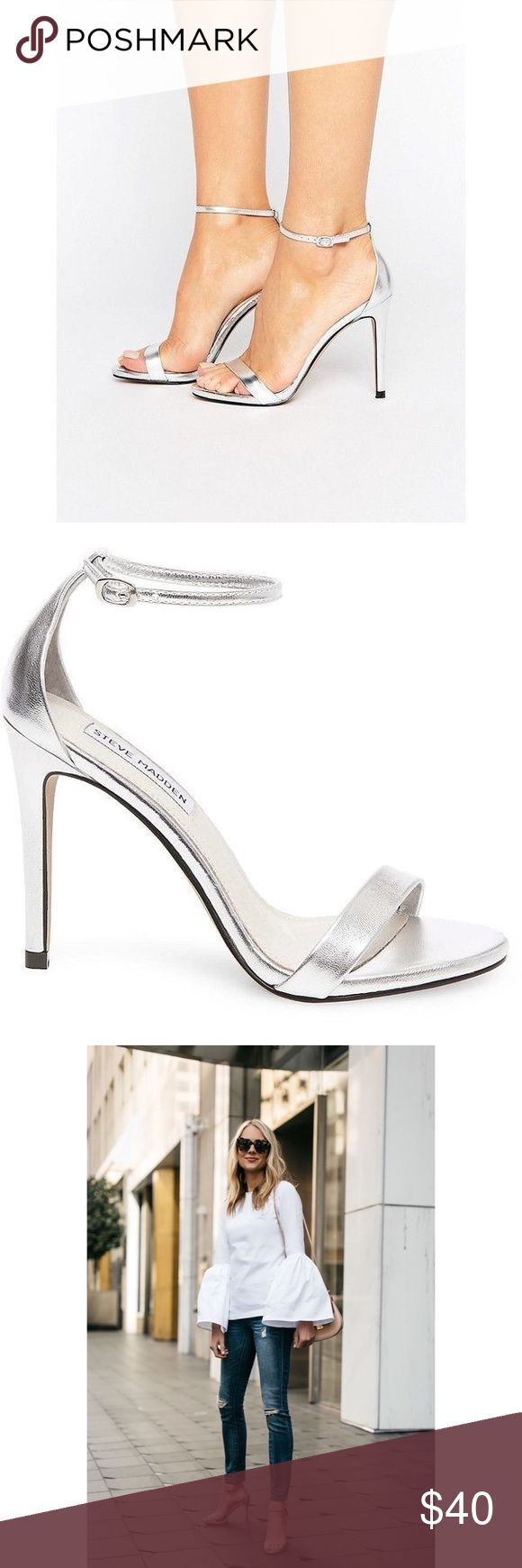 Steve Madden Silver Sandals Gorgeous silver heels. More pictures soon. Worn twice. Steve Madden Shoes Heels