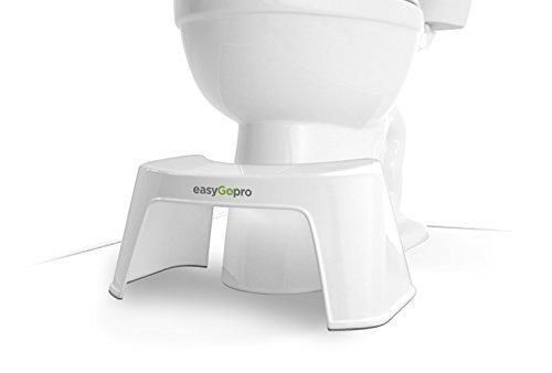 easyGopro 7.5 Most Ergonomic Toilet Stool for Better Bowel Movements Gastroenterologist Recommended for All Ages -One Size Fits All Toilets - White