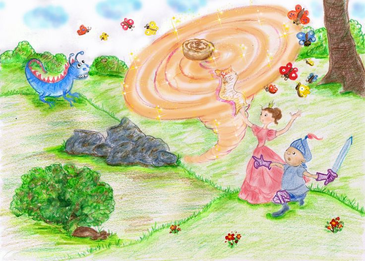 """Princess is making a magic spell for cinnamon roll"", children's book illustration by Yulia Potts"