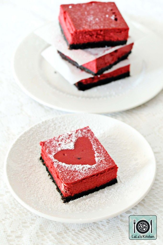 Red Velvet Cheesecake Slices made in the Thermomix for your Valentine