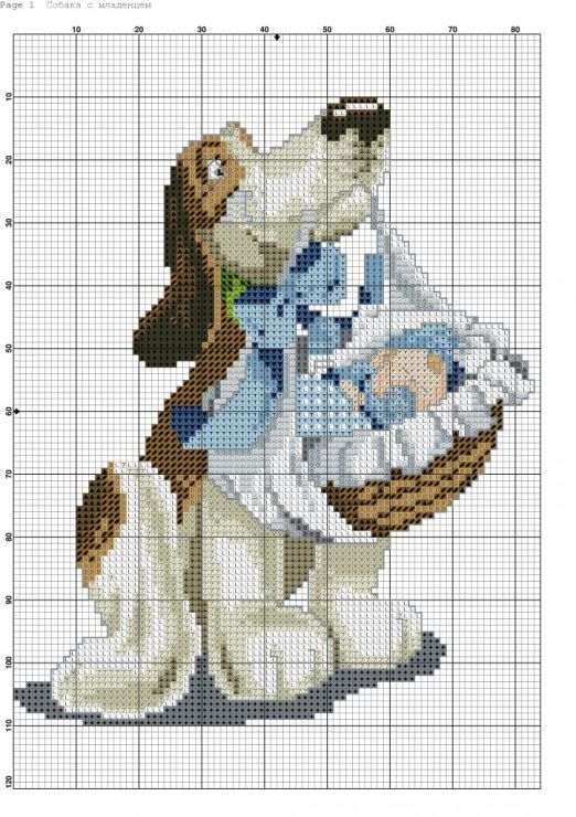 Children - Dog with blue baby basket -(bbj3547) 1/1 graph only