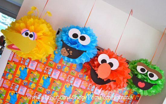Sesame Street party: Kids Parties, Sesame Street Parties, Paper Pom Pom, Birthday Parties, Pompom, Parties Ideas, 2Nd Birthday, Elmo Parties, Parties Decor