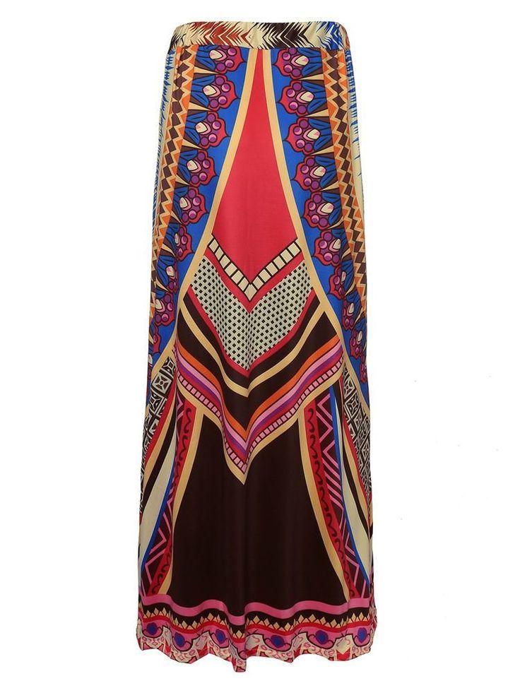 Bohemia Ethnic Print Elastic Waist Long Maxi Women Beach Skirt