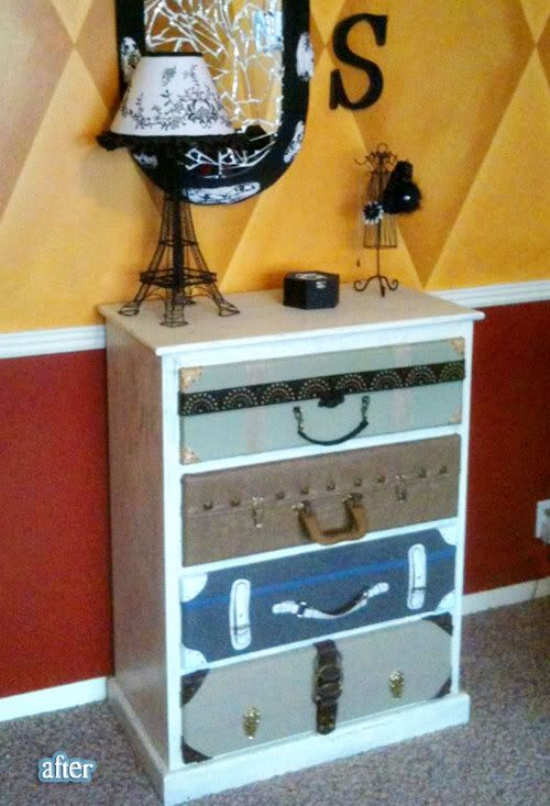 Suitcase dresser-- but this one is made with fake suitcases! Just fabric scraps and pieces of old purses and belts!