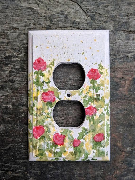Single Outlet Painted Pink With Red Roses Wooden Decorative Etsy