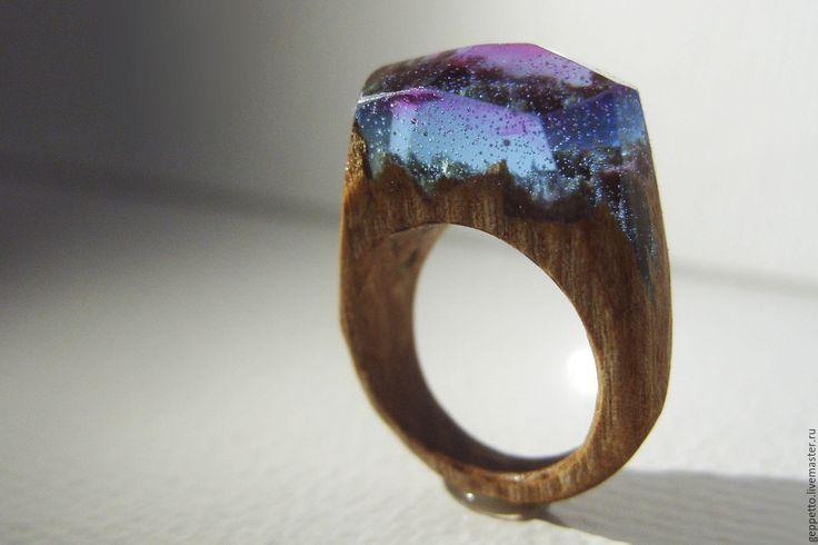 Купить Деревянное кольцо Коралловые рифы. - подарок на 5 лет, деревянная свадьба, интересное кольцо
