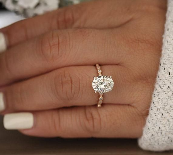 3.00ct Moissanite Oval Forever Classic Engagement Ring, Oval 10x8mm Moissanite and Diamond Solitaire Wedding Ring, Rose Gold Moissanite Ring