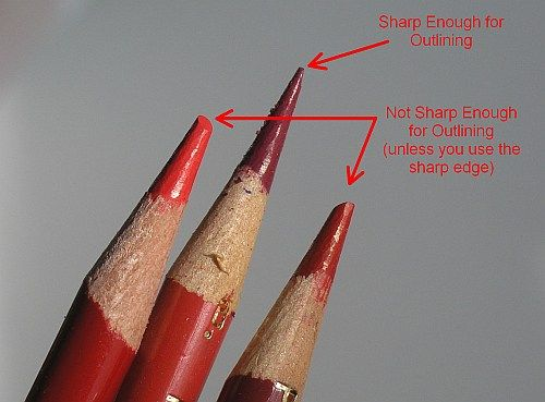 In most cases, you should always use sharp pencils because they produce the most even, best saturated color layers. But they are a must when drawing edges