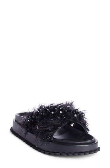 50e338abde5a14 Beaded Platform Leather Sliders