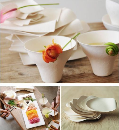 Fancy food presentation using Wasara disposable tableware