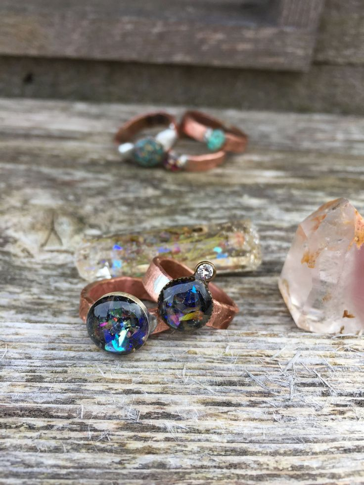 Shungite Sparkly Rustic Copper Ring by PixieStixDesigns on Etsy