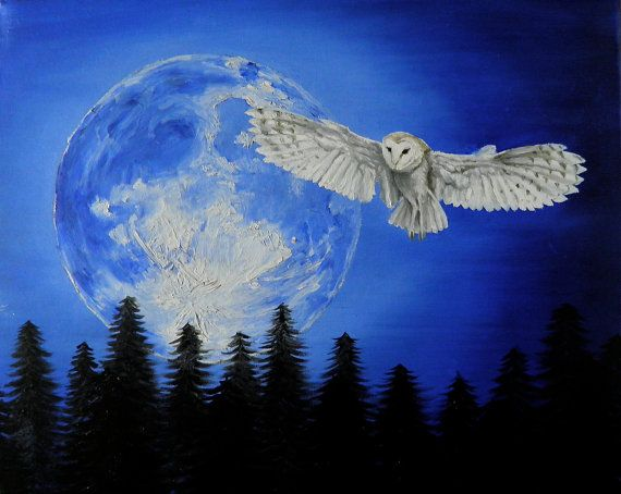 Night Owl  Original Owl and Moon Oil Painting by AprilHenderlong, $100.00