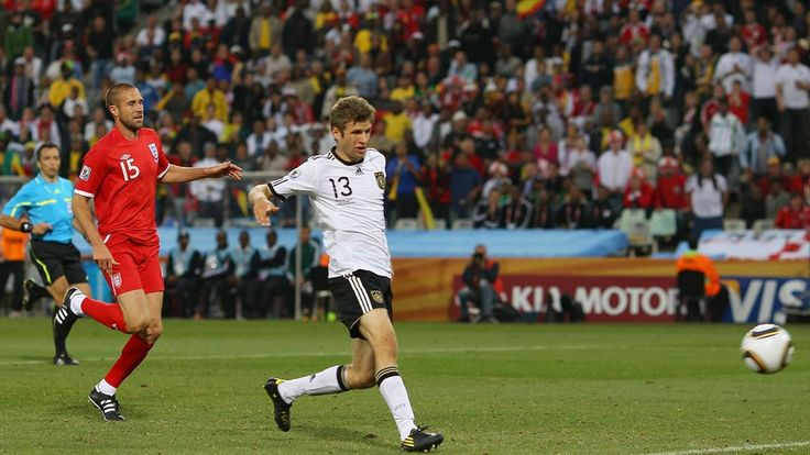 BLOEMFONTEIN, SOUTH AFRICA - JUNE 27: Thomas Mueller of Germany scores his teams fourth goal during the 2010 FIFA World Cup South Africa Round of Sixteen match between Germany and England at Free State Stadium on June 27, 2010 in Bloemfontein, South Africa. (Photo by Michael Steele/Getty Images)