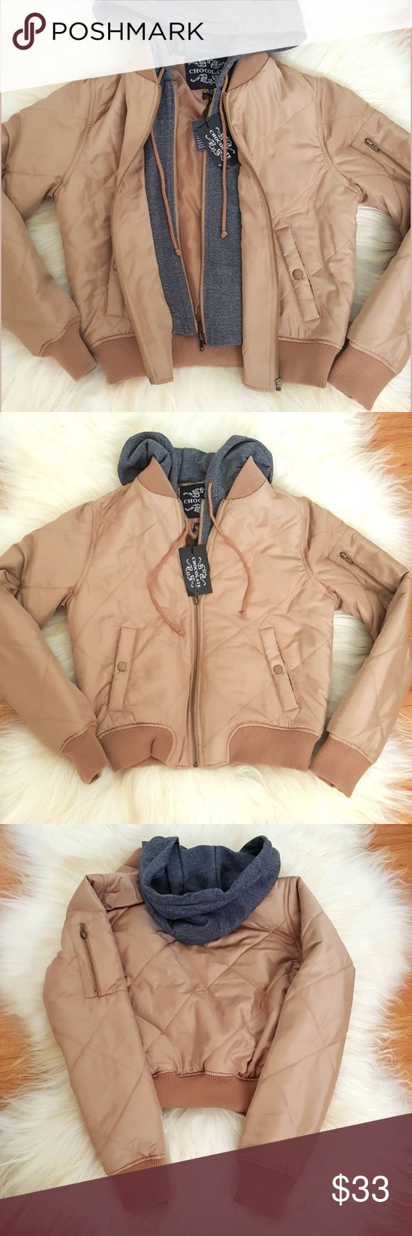 NWT HOODED BOMBER JACKET Medium Beige quilted bomber jacket with grey hood Layered look I would keep it if I didn't have so many jackets ;( Even has a pocket on sleeve Jackets & Coats