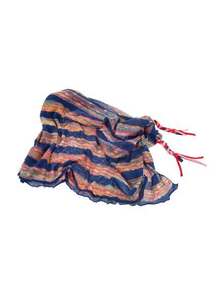 Μίνι παρεό/φούστα Studio Boneli, με χειροποίητα τελειώματα, ethnic με ρίγες μπλε ρουά #Woman #Beachwear