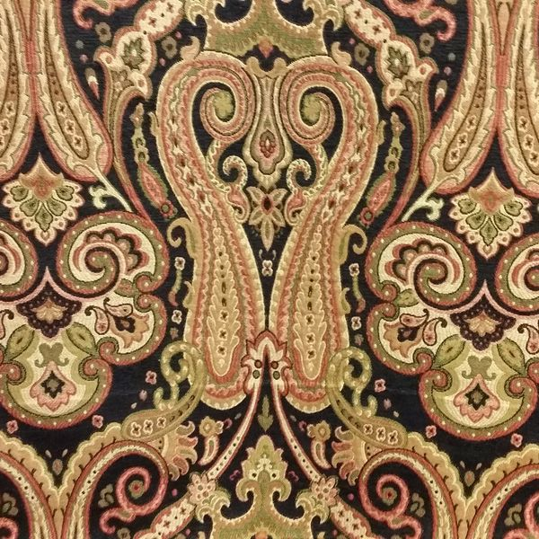 Beth Black Woven Chenille Fl Paisley Upholstery Fabric 51898 Fabrics
