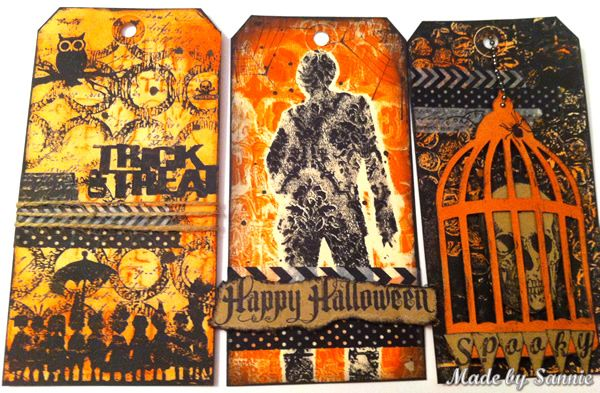 Gorgeous Tags Created by Sandra M using Gelli Plates for the Simon Says Stamp Monday Challenge Halloween or Halloween Colors. October 2013