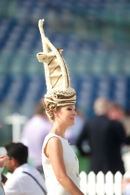 Burj Al Arab Hat at the Fashion Stakes at the Meydan Racecourses on  Dubai World Cup