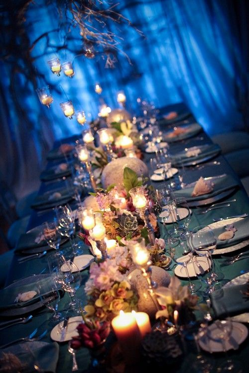 gorgeous modern ocean-themed banquet table shared by Jessica of Jessica Lewis Photography! Nico Designs and LBPS Events did an amazing job on the 10-person estate table, using lots of orchids, succulents, and natural ocean details.