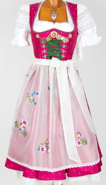Wonderful embellishments on the bodice! #dirndl #dress #German #folk #costume #pink #white