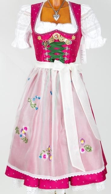 Wonderful embellishments on the bodice! #dirndl #dress #German #folk #costume #pink #white