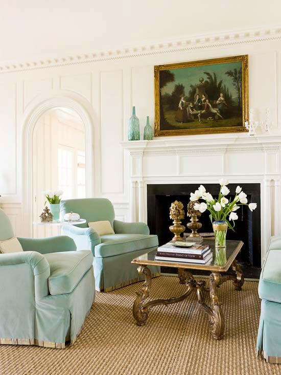 Classic Details + Wall Panels & Trim + 18th Century Georgian Design Style Of Raised Paneling Dentil Crown Molding & Elaborate Mantle Fireplace