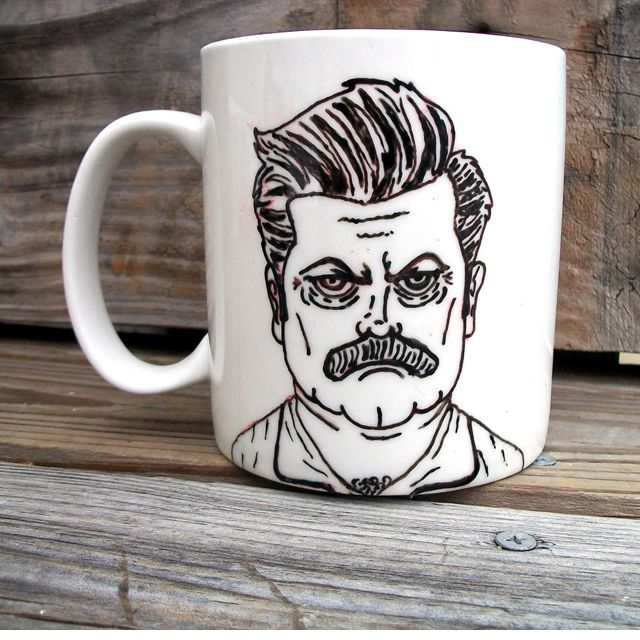 i would totally get this for you if you were in love with parks and recreation! and recognized this character (ron swanson) since he is awesome AND on a mug
