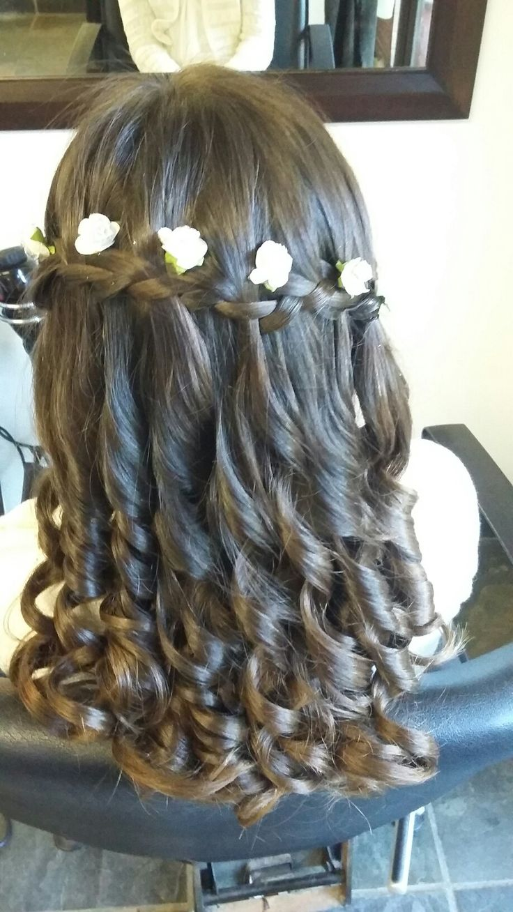 First Holy Communion hair do.