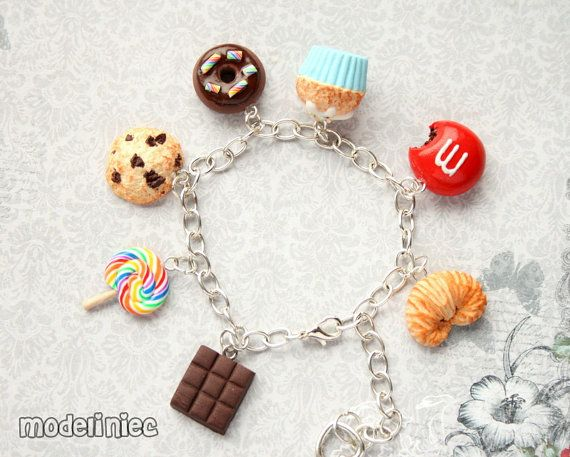 Bracelet miniature sweets cookie donut cupcake lolipop chocolate handmade polymer clay