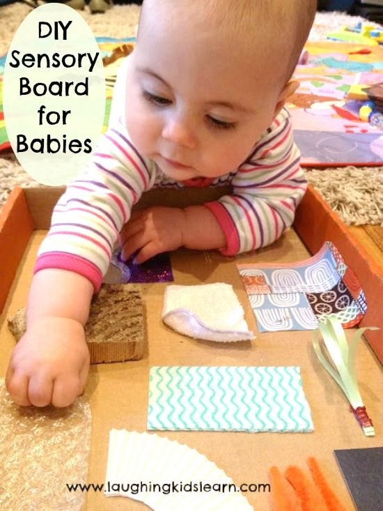 Here are instructions on how to make a DIY sensory board for babies. Simple to make and great way to have them explore textures and sounds.