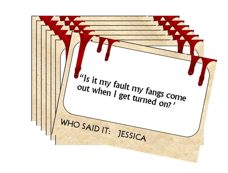 The last thing you want is for your True Blood Bash to be, pardon the pun, dead. Bring the life back to the party by testing your guest's knowledge of their favorite sexy vamp show. Divide guests into teams and read the quote. The first team that answers wins the point.    Included are 36 quote cards PLUS a blank set of game cards if you want to expand the game by adding your own.    Get More Ideas At: http://www.queen-of-theme-party-games.com/true-blood-party-supplies.html#ixzz1V7KP2kz0