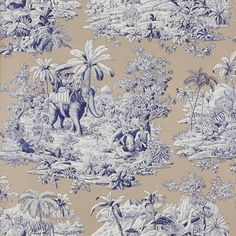 21 best images about toile elephant on pinterest - Papel pintado toile de jouy ...