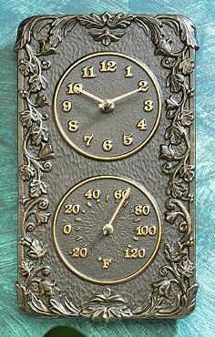 Add a Mediterranean touch to your patio or garden with our Acanthus Clock and Thermometer.