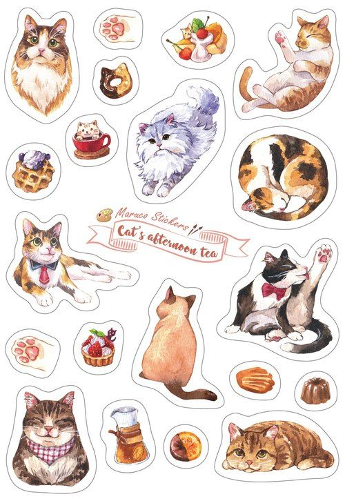 Cat Afternoon Tea - White Knife Die Stickers