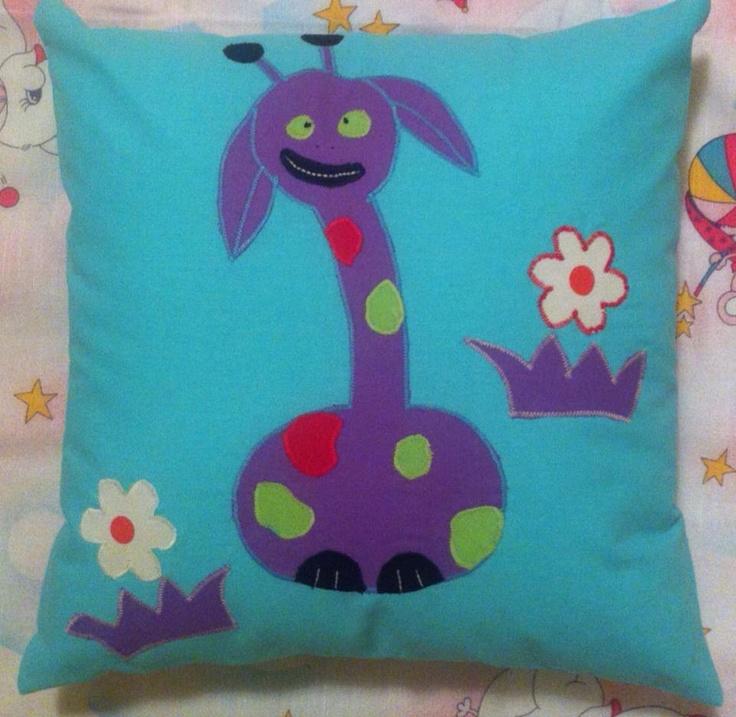 Happy Pillow- Crazy griraffe- handmade pillow  35x35 cm  Order at: happy_pillows@yahoo.com